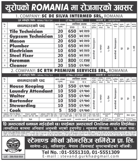 Jobs in Romania, Europe for Nepali, Salary Rs 88,975