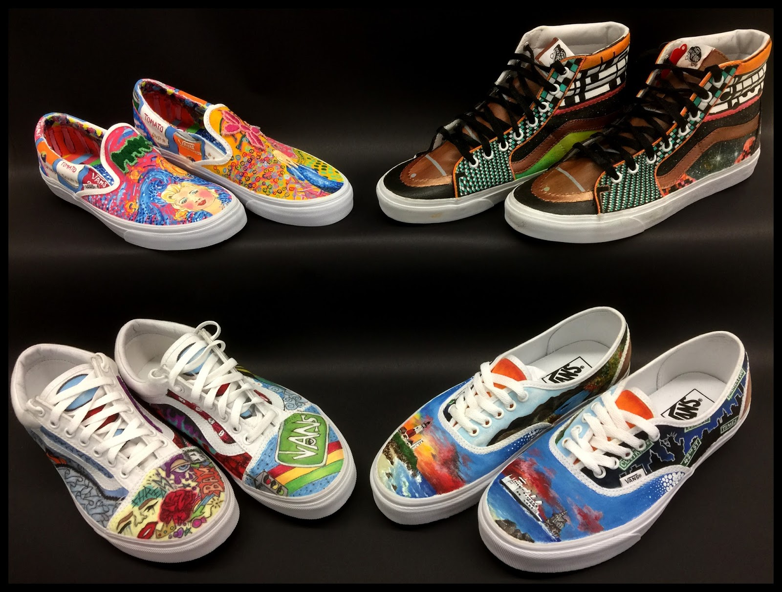 950d9b321a Today in Painting class we will be working on creating designs for the 2018 Vans  Custom Culture Contest. Above is our four shoe designs that were entered ...