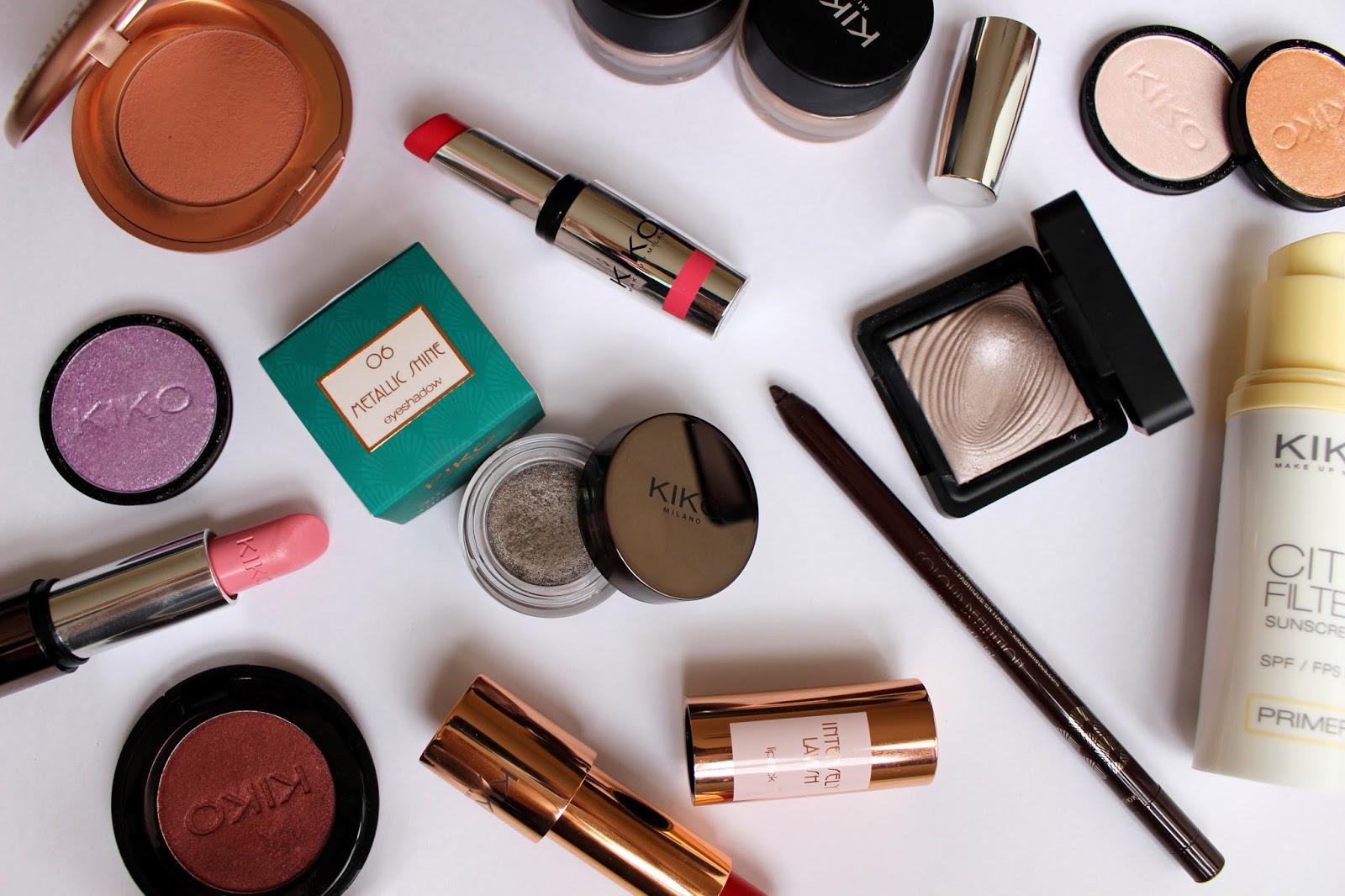 kiko makeup haul, brand overview of kiko cosmetics, makeup, flatlay photo