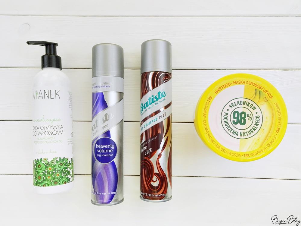 suchy szampon Batiste Divine Dark, suchy szampon Batiste Heavenly Volume, lekka normalizująca odżywka do włosów Vianek, maska do włosów Garnier Hair Food Banana