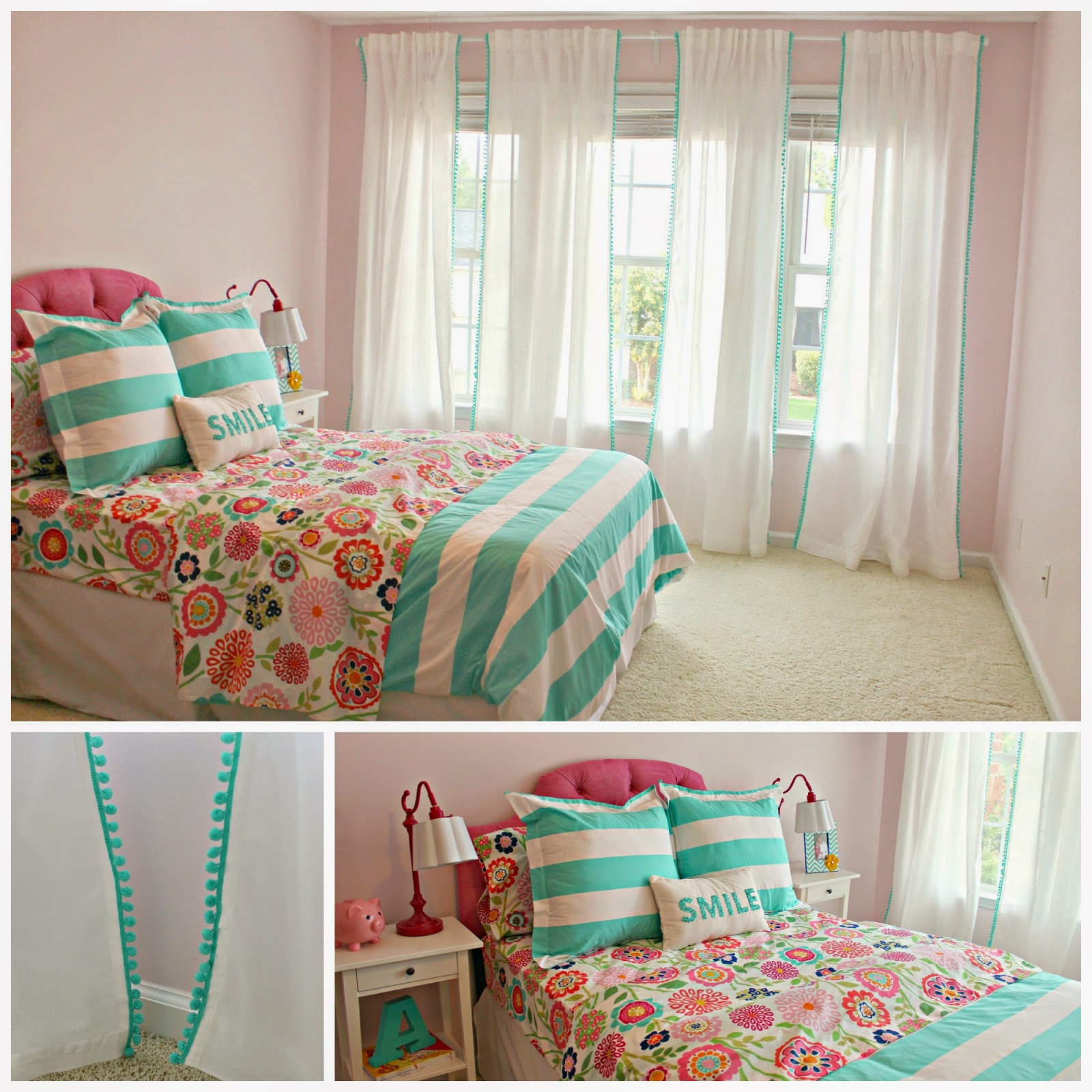 Hadleys Nursery Big Girl Bedroom Pom Curtains