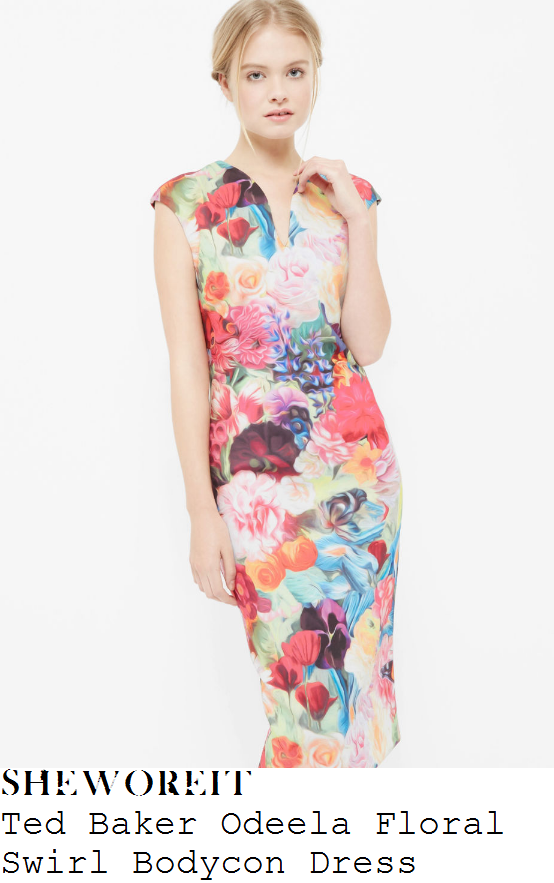 susanna-reid-ted-baker-odeela-bright-multicoloured-floral-swirl-print-cap-sleeve-v-neck-pencil-dress