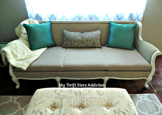 Creating Christmas: A Very Thrifty Christmas mythriftstoreaddiction.blogspot.com Thrifty tips to create a beautiful home for the holidays, like this $10 yard sale sofa transformed with chalk paint
