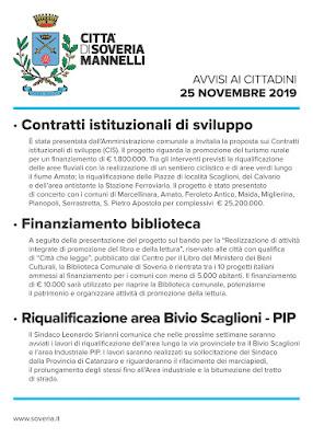 CITTA' DI SOVERIA MANNELLI - AVVISI AI CITTADINI  25 NOVEMBRE 2019