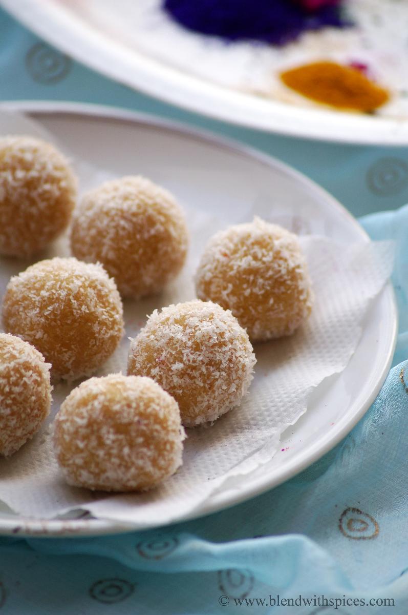 mawa coconut jaggery laddu, khoya jaggery laddu recipe