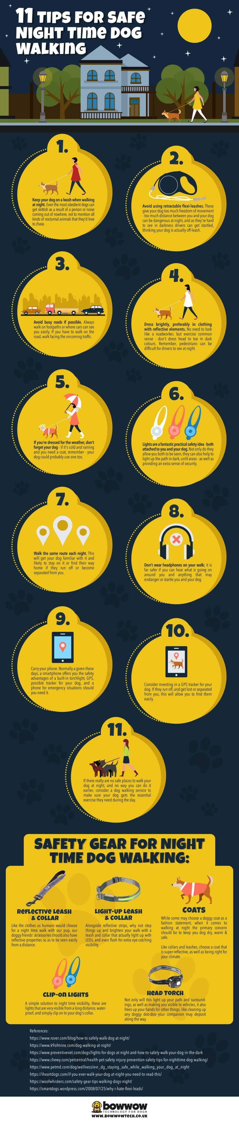 Tips For Safe Night Time Dog Walking #infographic