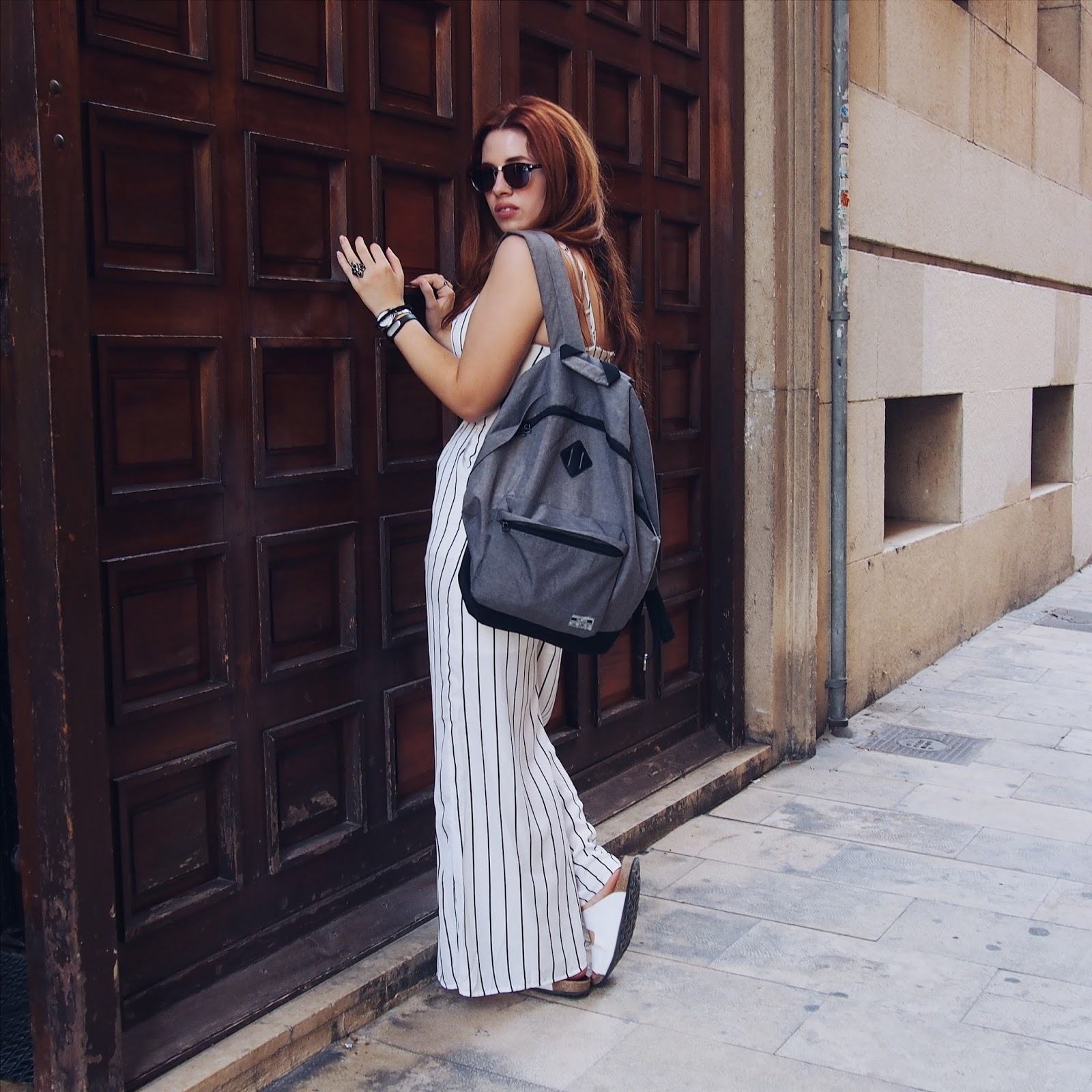 Outfit, casual, style, blogger, moda, mono, jumpsuit, fashion, romwe, stradivarius, backpack, choker, rings