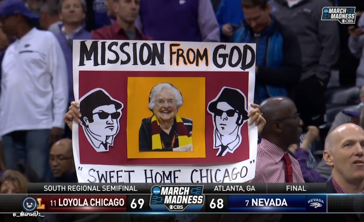 Sport Gifs Videos Loyola Beats Nevada Fan With Sign Mission From