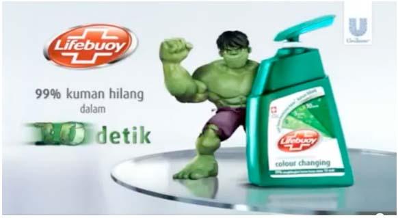 Sibeloy Iklan Sabun Lifebuoy Tampilkan Figure Hulk
