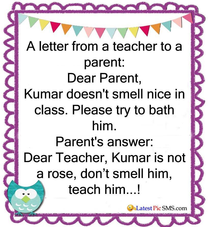letter teacher parents funny jokes - SMS of The Day in English with Pictures for Whatsapp & Facebook
