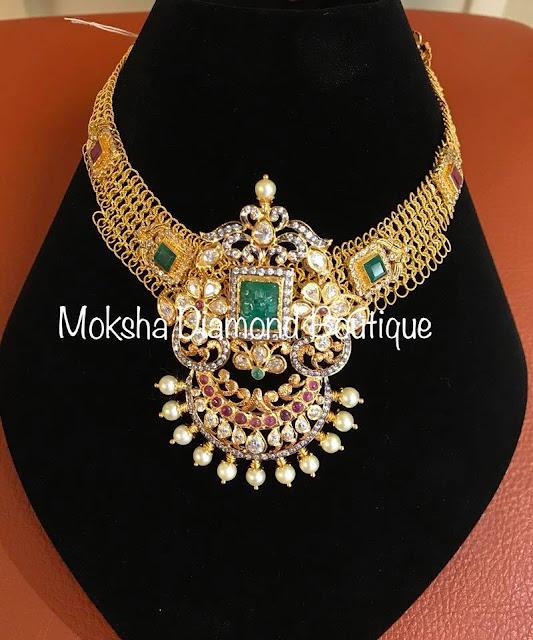 Mesh Necklaces with Kundan Pendants