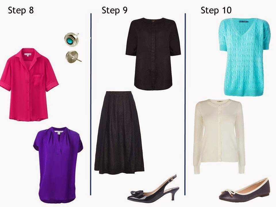 Steps 8, 9 and 10 Starting From Scratch Navy and White summer office wardrobe