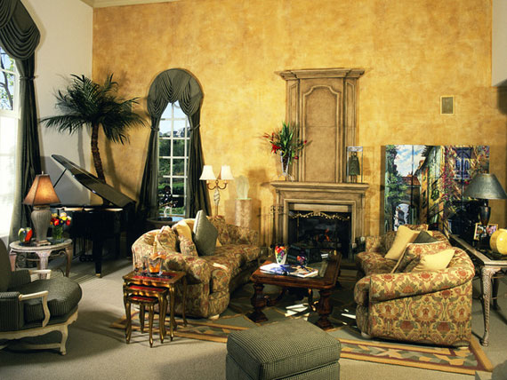 Tuscan style furniture for living room with yellow wall colors