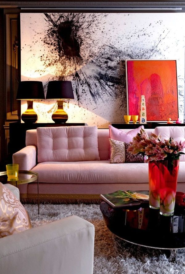 Salas con sof rosa  Salas con estilo