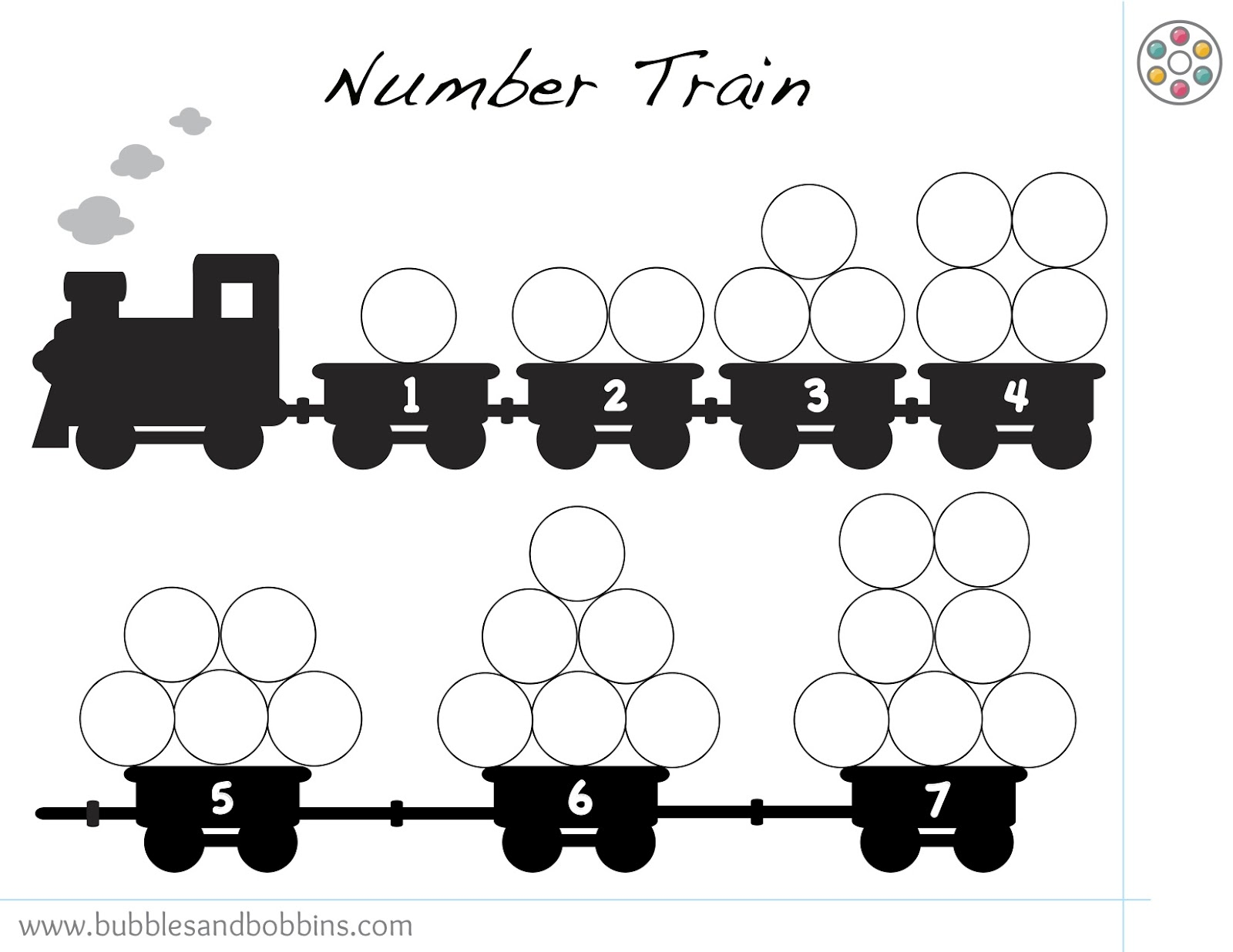 Number Train Pompom Template