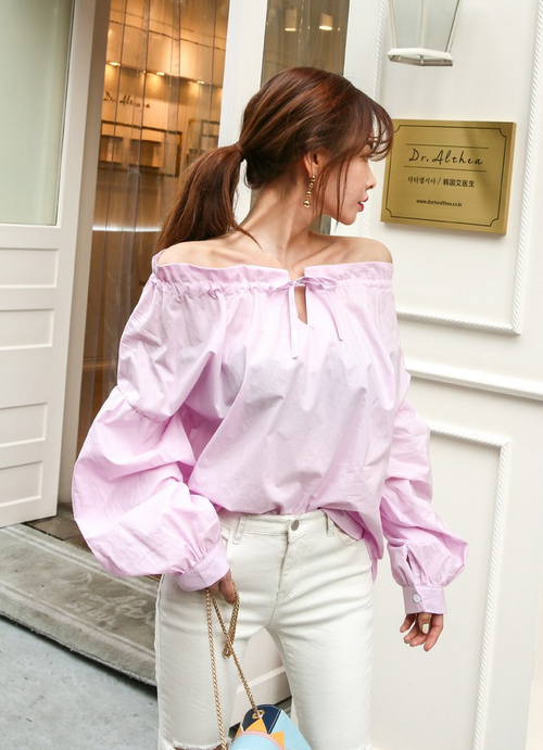 Tie-Neck Off Shoulder Blouse