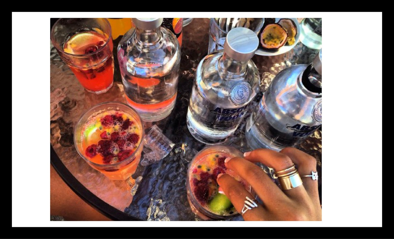 mixed drinks rings party summer vodka absolut