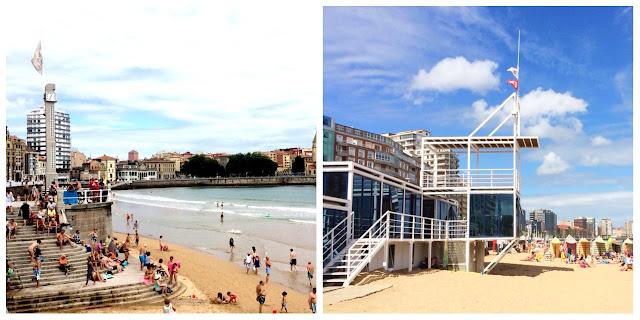 Playa San Lorenzo: Escalerona y Caseta de Salvamento