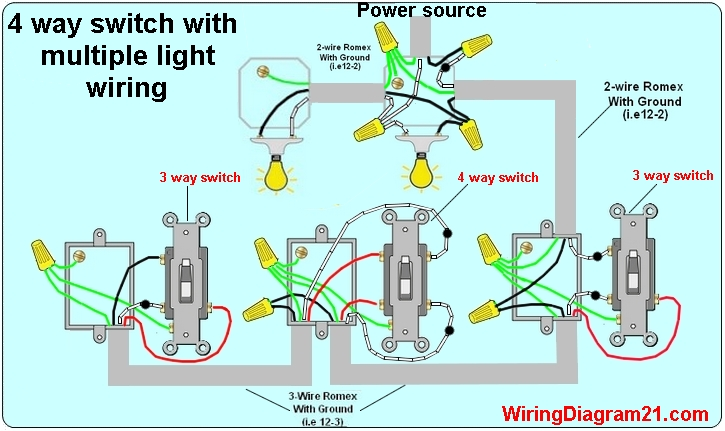3 And 4 Way Switch Wiring Diagram Megaflow House Electrical With Multiple Lights Power Source Feed Vea The