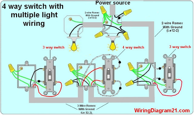 4 way switch wiring diagram multiple lights  | 640 x 380