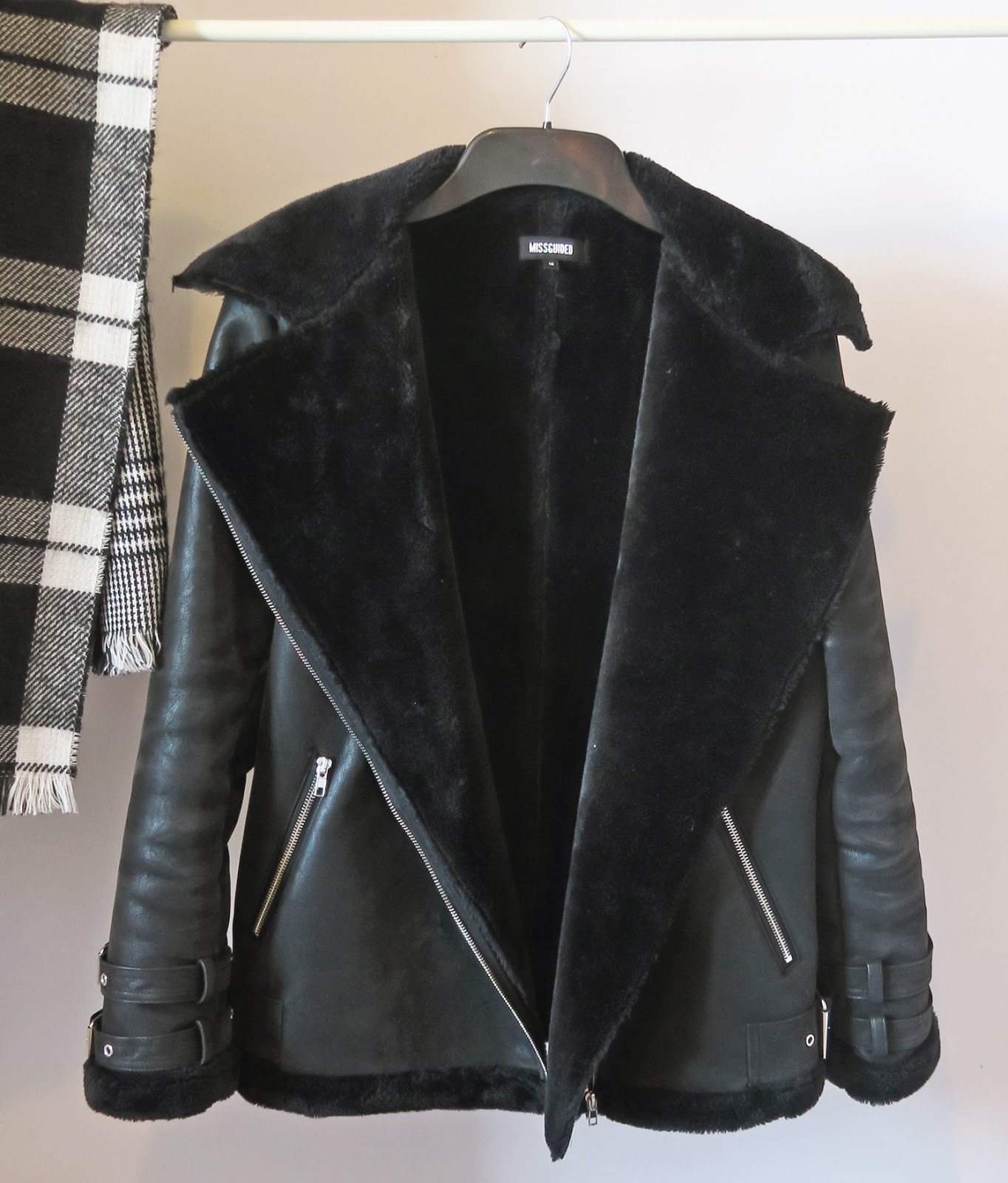 black shearling biker jacket missguided