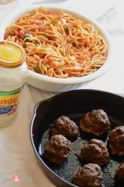 Spaghetti & Meatballs   GlitznGrits com