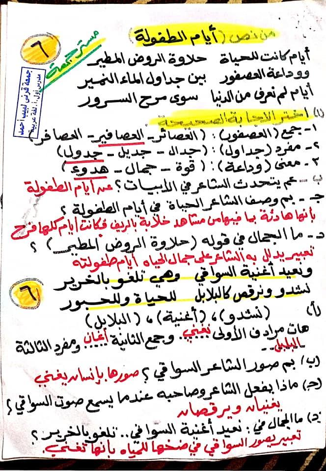 مراجعة اللغة العربية للصف السادس الابتدائي ترم ثاني أ/ جمعة قرني لبيب 21