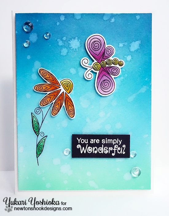Ombré card by Yukari Yoshioka | Beautiful Blossoms & Beautiful Wings stamp sets by Newton's Nook Designs #newtonsnook
