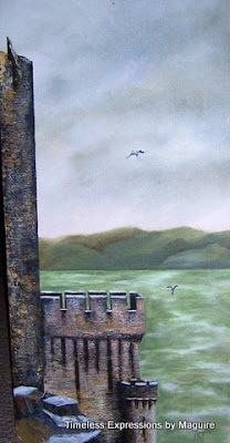 ~ Castle Hoathe On The Irish Sea ~   Oil on canvas, 30 x 72, 1975  Collector not recorded ~ Timeless Expression by Maguire