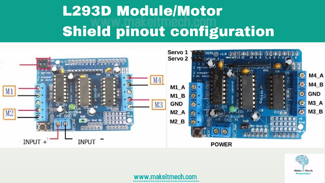 arduino tutorials how to use l293d module , pinout configuration of l298 module