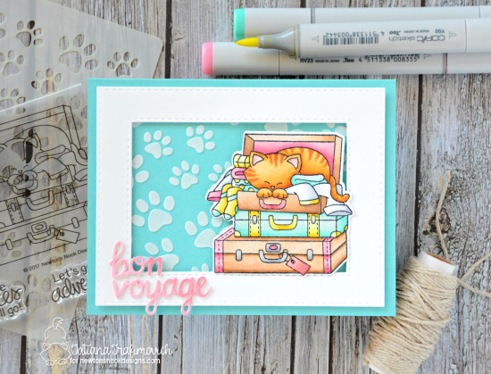 Bon Voyage! Cat in Suitcase Card by Tatiana Trafimovich | Stowaway Newton Stamp Set and Pawprint Stencil by Newton's Nook Designs #newtonsnook