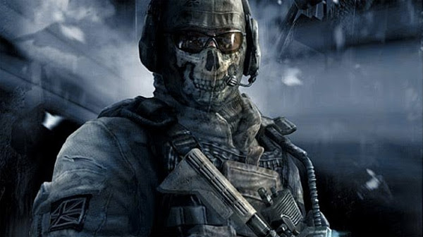 The character Ghost shoulders his weapon, from Call of Duty Modern Warfare