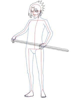 cara menggambar Sasuke Hebi tahap 12