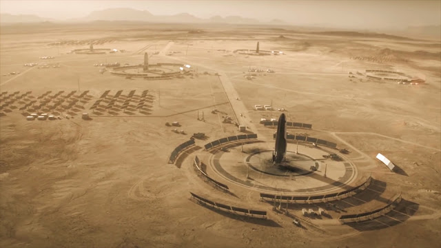 BFR landing pads - image from Season 2 of NatGeo MARS TV series