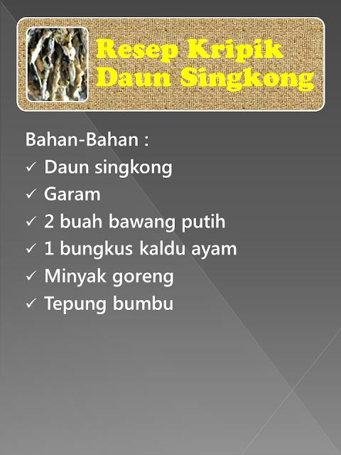 Resep Keripik Daun Singkong
