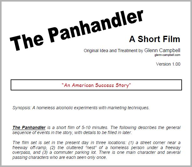 Bad Words The Panhandler (story for a short film) - film treatment template