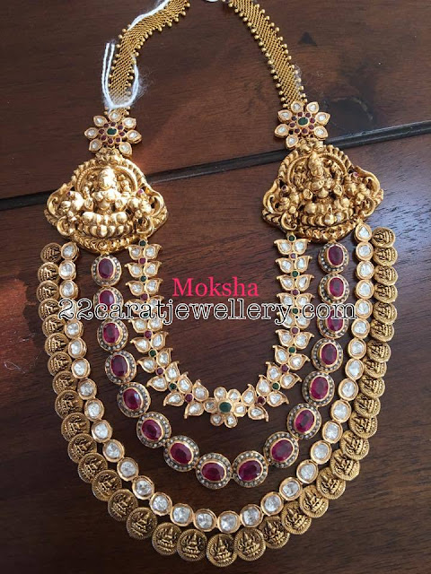 Three Layer Kasu Mala with Pachi Work