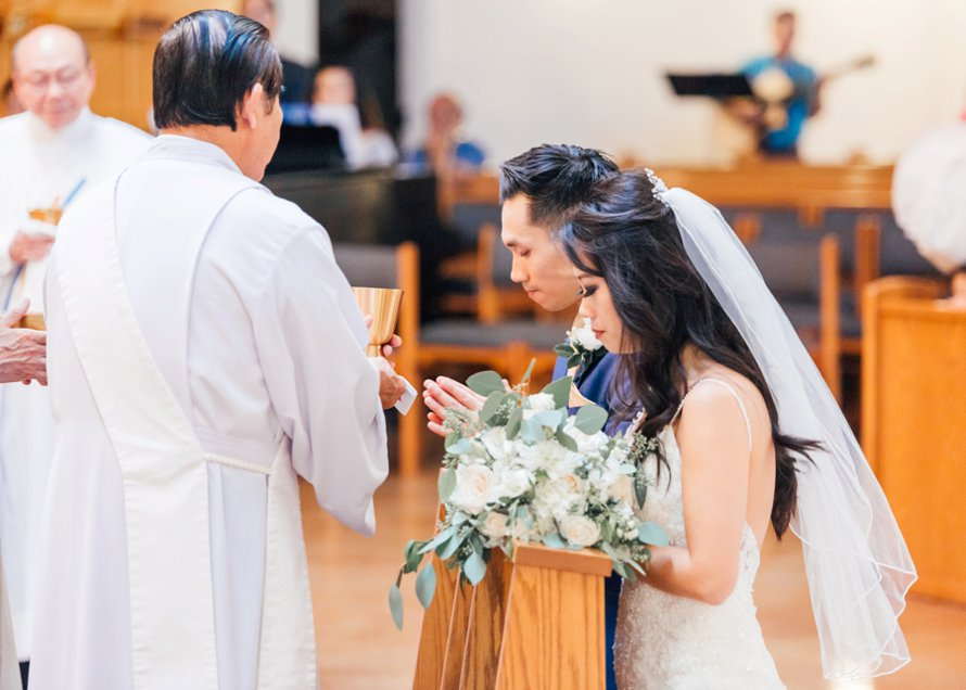 Catholic Ceremony Communion documented by Seattle Wedding Photographers Something Minted Photography