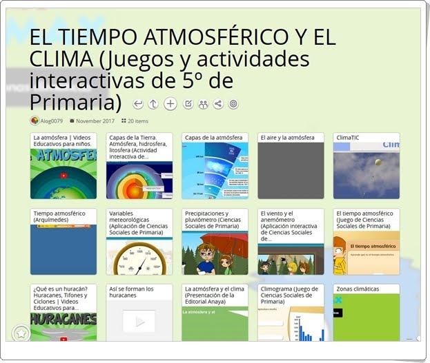 """""""20 Juegos y actividades interactivas para el estudio de EL TIEMPO ATMOSFÉRICO Y EL CLIMA en 5º de Primaria"""""""