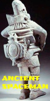 An ancient astronaut with a spacesuit on.