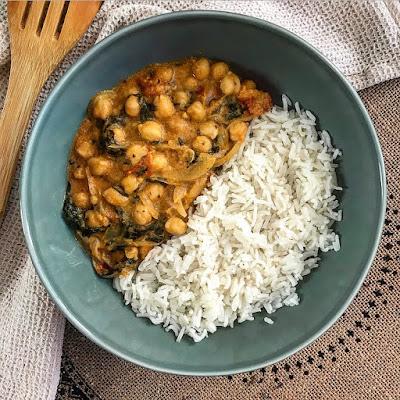 Pois chiches légumes aux épices et riz Charlotte and Cooking