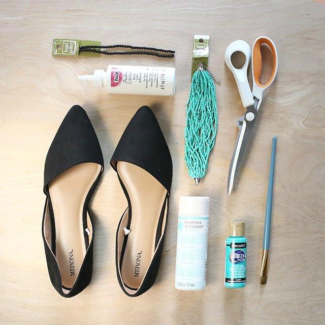materiales para customizar zapatos con cuentas