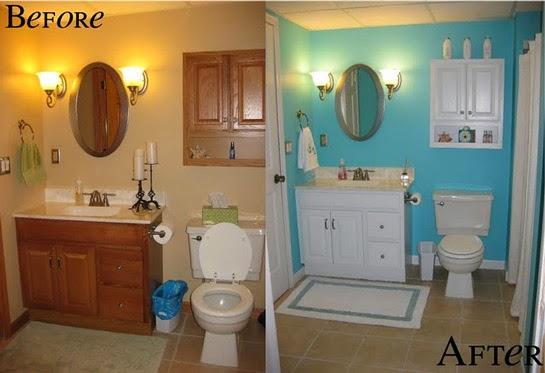 Antes y despues de un baño tueando con mueble reciclado