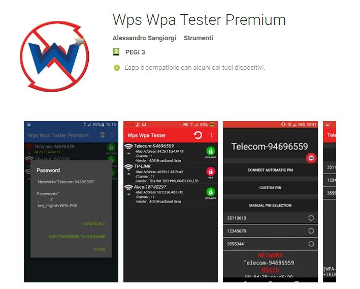 App per scoprire password Wi-Fi su Android: Wps Wpa Tester Premium APK
