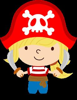 niña con coletas pirata para imprimir