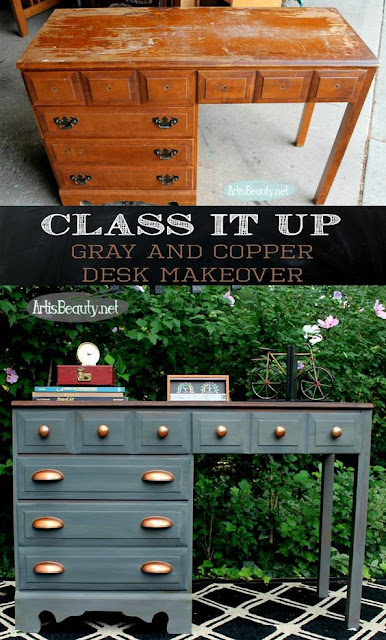 gray and copper desk makeover