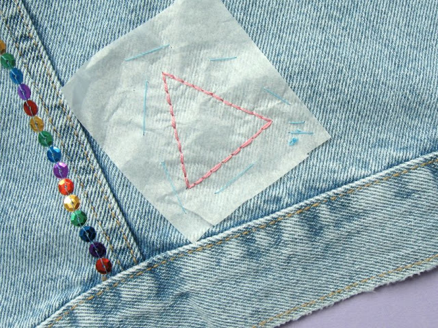 Adding embroidery to a denim jacket