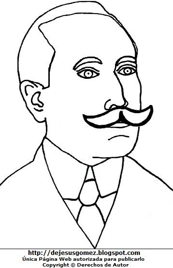 Dibujo de Amado Nervo joven para colorear o pintar. Ilustración de Amado Nervo de Jesus Gómez