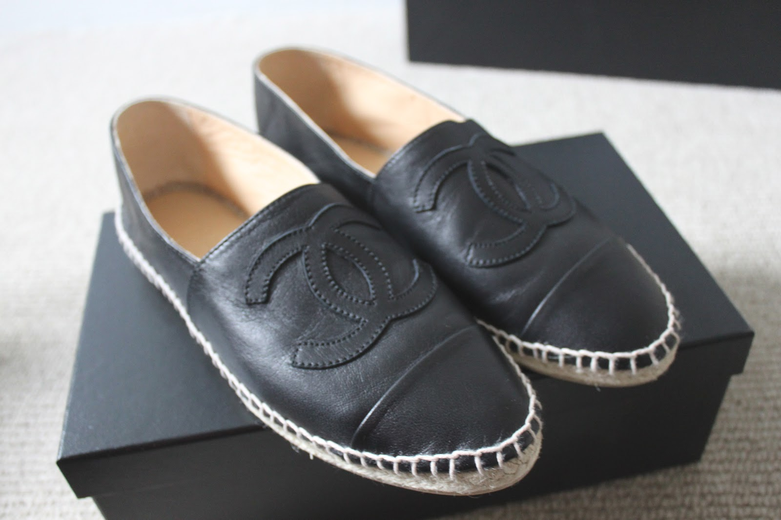 Chanel Leather Espadrilles Flats Shoes