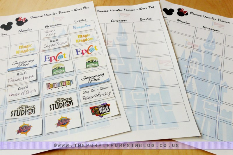 Orlando, Walt Disney World Vacation Planner Free Printable